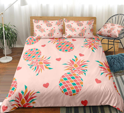 Image of Pink Striped Pineapple Bedding Set - Beddingify