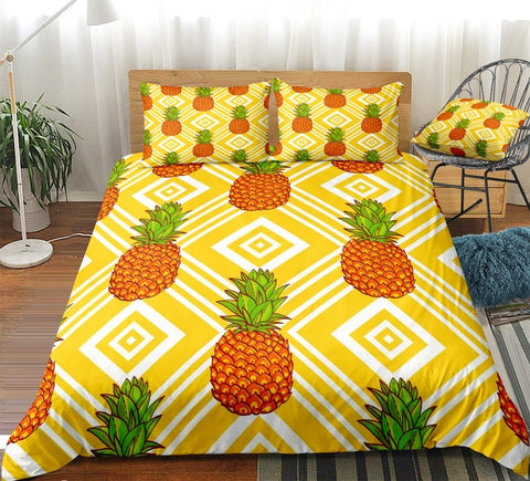 Image of Yellow Striped Pineapple Bedding Set - Beddingify
