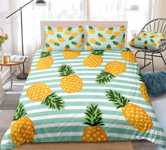 Blue Striped Pineapple Bedding Set - Beddingify