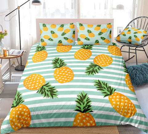 Image of Blue Striped Pineapple Bedding Set - Beddingify