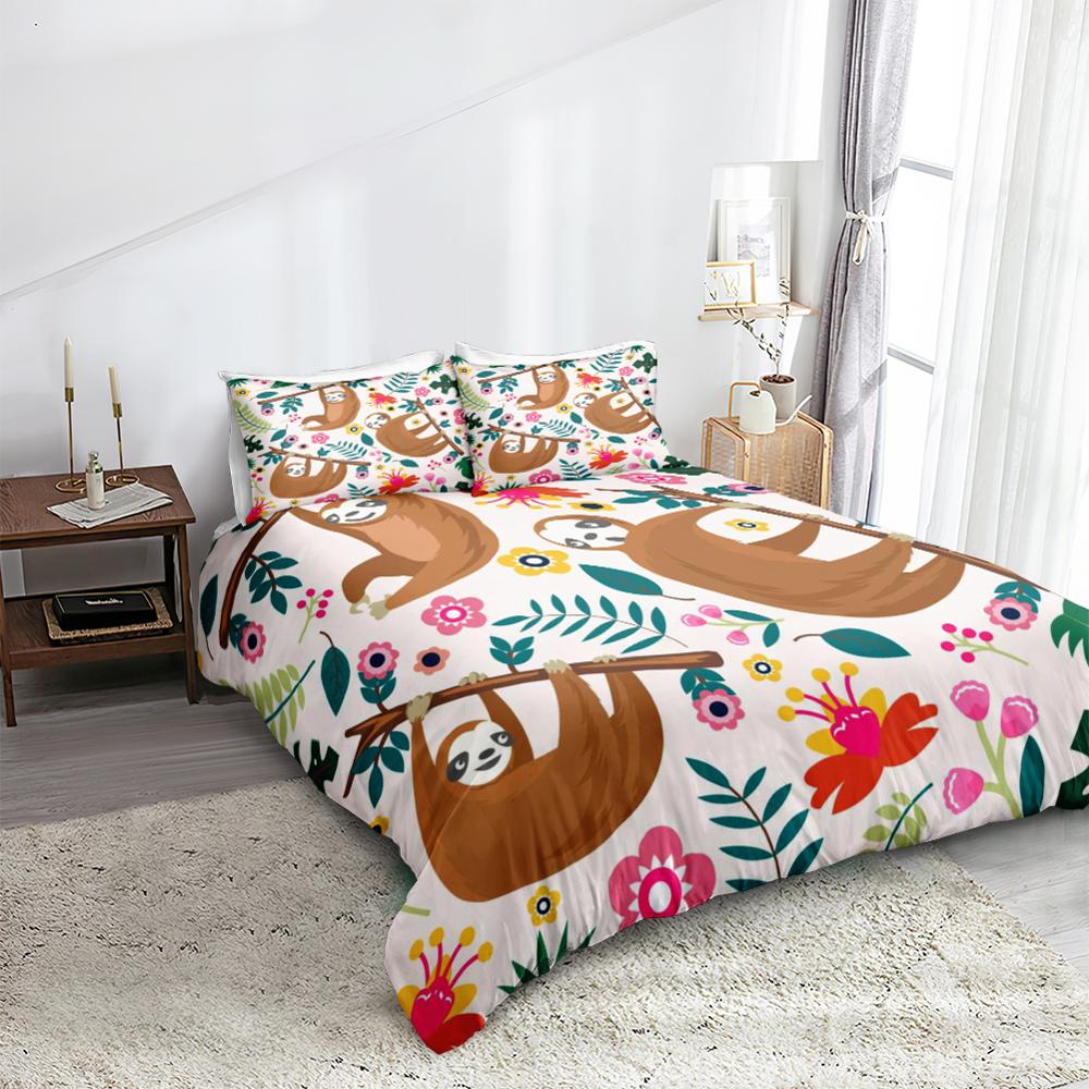 Flowers Sloth Bedding Set - Beddingify