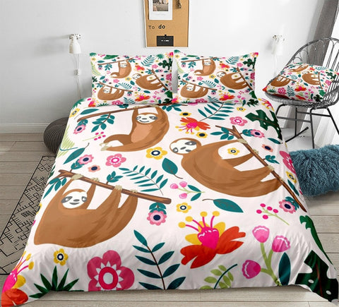 Image of Flowers Sloth Bedding Set - Beddingify