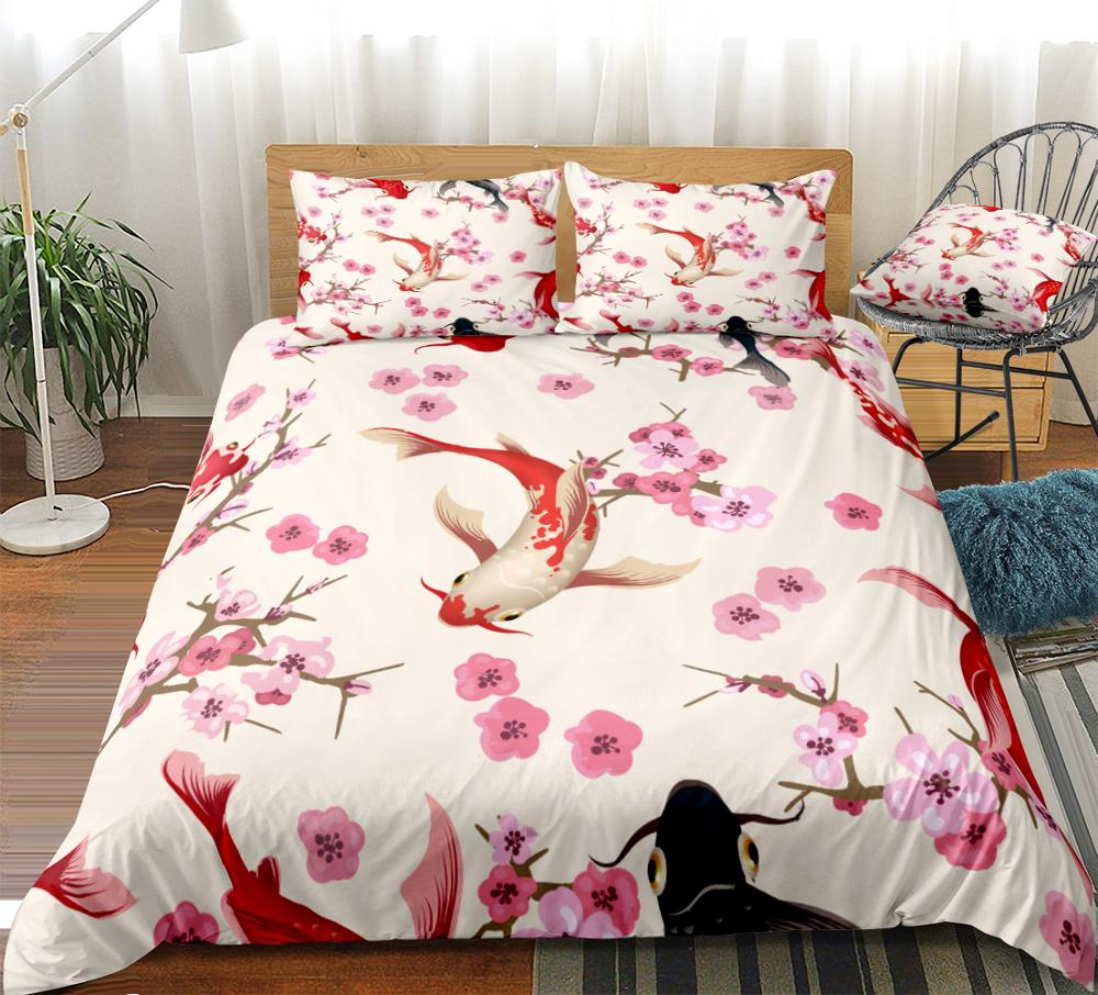 Plum Blossom and Kois Bedding Set - Beddingify
