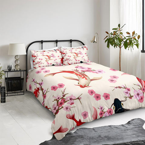 Image of Plum Blossom and Kois Bedding Set - Beddingify