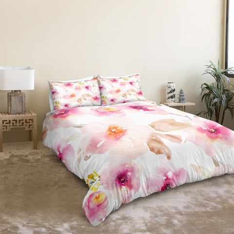 Image of Peach Flowers Bedding Set - Beddingify
