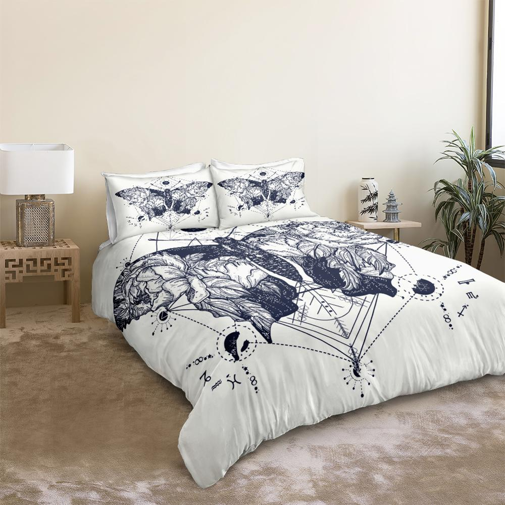Black White Butterfly Bedding Set - Beddingify