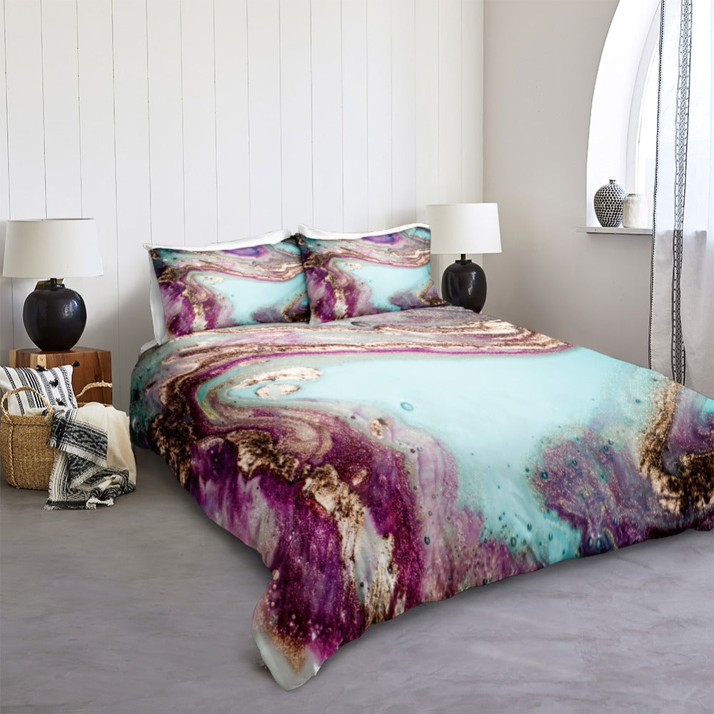 Purple Blue Marble Bedding Set - Beddingify