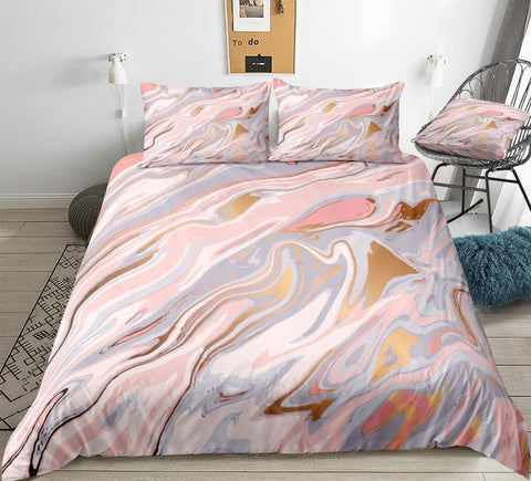 Pastel Pink Marble Bedding Set - Beddingify
