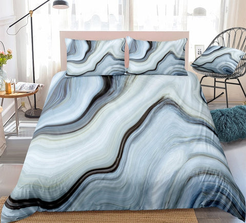 Black Blue Marble Bedding Set - Beddingify