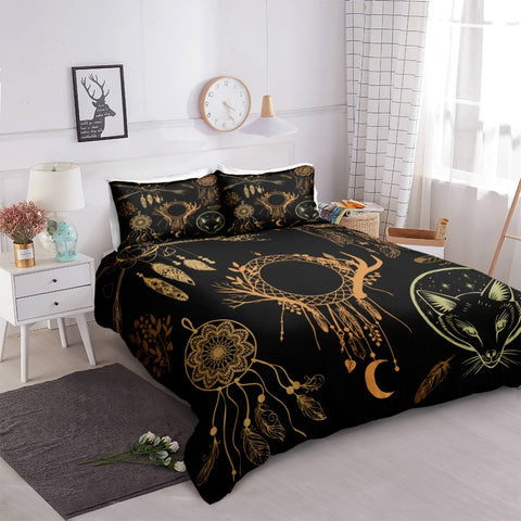 Image of Black Feather Dreamcatcher Bedding Set - Beddingify