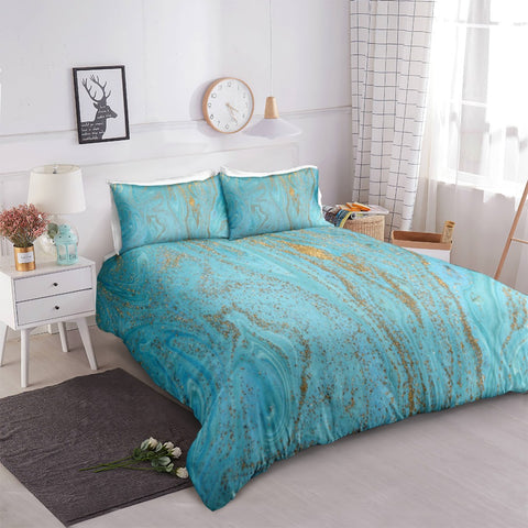 Gold Blue Liquid Marble Bedding Set - Beddingify