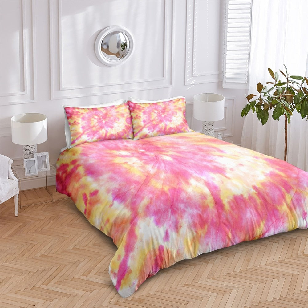 Pink Orange Tie Dye Bedding Set - Beddingify