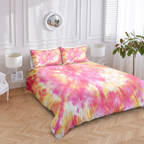 Image of Pink Orange Tie Dye Bedding Set - Beddingify