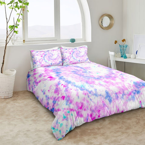 Image of Purple Blue Tie Dye Bedding Set - Beddingify