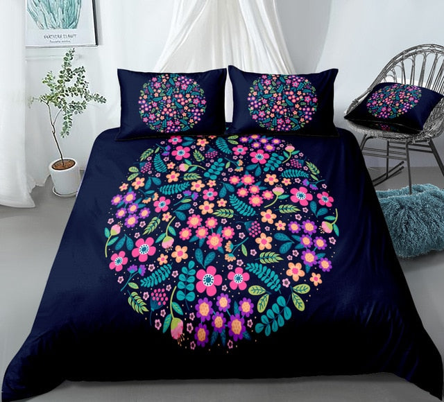 Dark Blue Flower Bedding Set - Beddingify