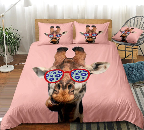Image of Giraffe Cartoon Bedding Set - Beddingify