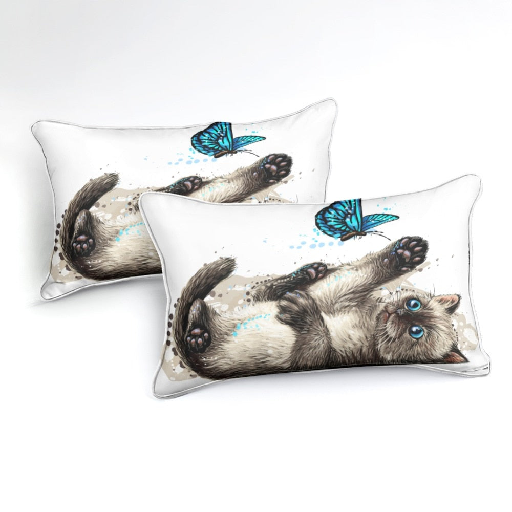 Cat Plays With Butterfly Bedding set - Beddingify