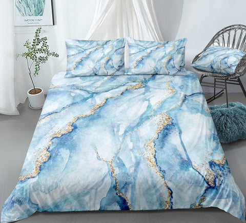 Light Blue Marble Bedding Set - Beddingify