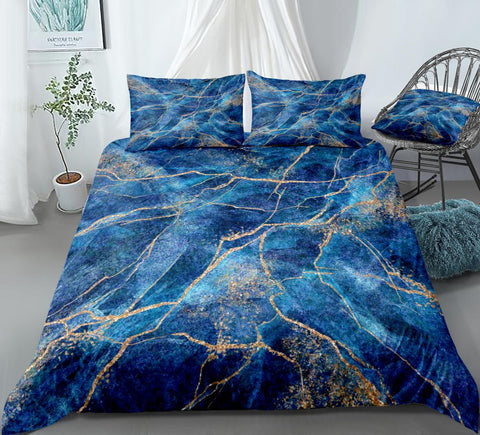 Gold Blue Quicksand  Bedding Set - Beddingify