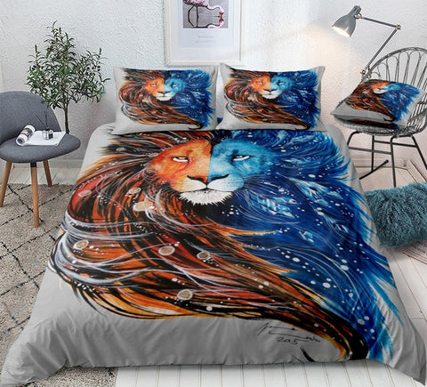Image of Ice Fire Lion Bedding Set - Beddingify
