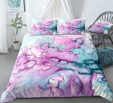Image of Oil Painting Green Pink Bedding Set - Beddingify