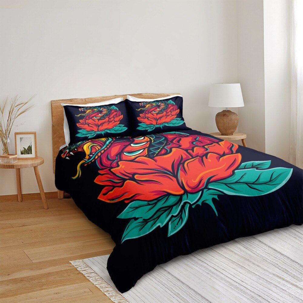 Rose And Snake Bedding Set - Beddingify
