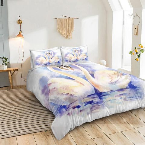 Image of Couple Swans Bedding Set - Beddingify