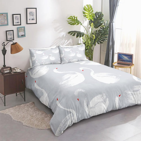 Image of White Swans Bedding Set - Beddingify