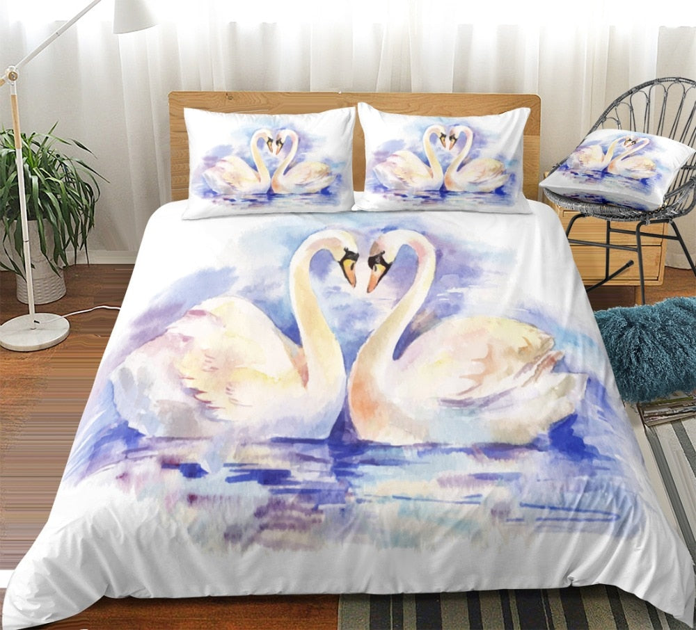 Couple Swans Bedding Set - Beddingify