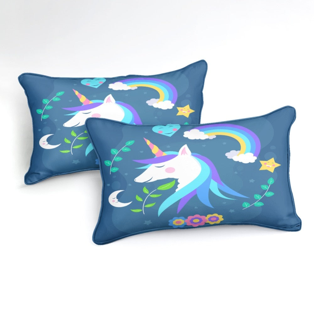 Blue Unicorn Bedding Set - Beddingify