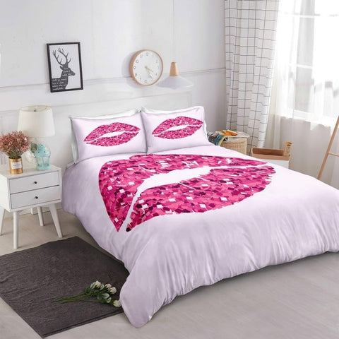 Image of Glittering Pink Lips Bedding Set - Beddingify