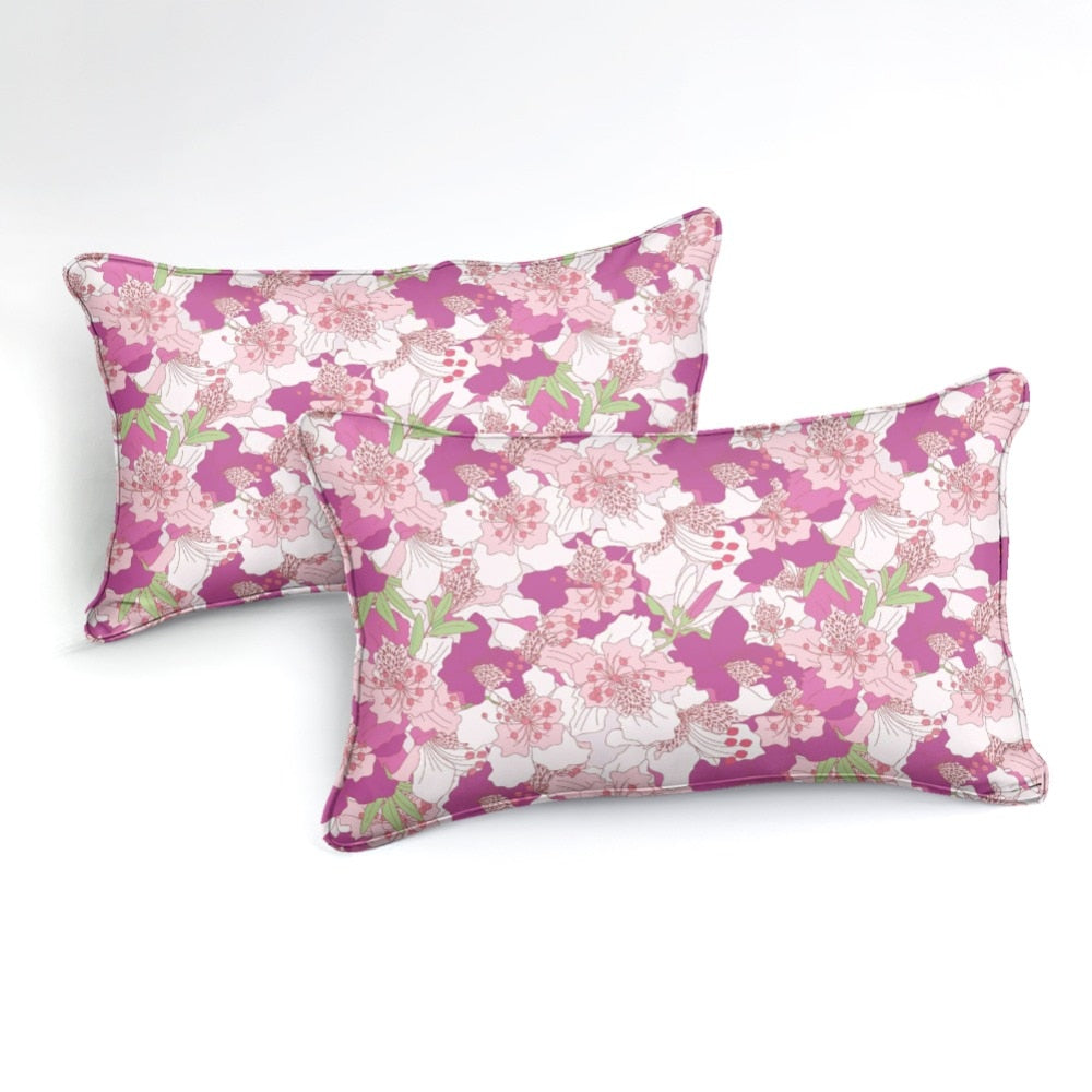 Pink Flowers Bedding Set - Beddingify