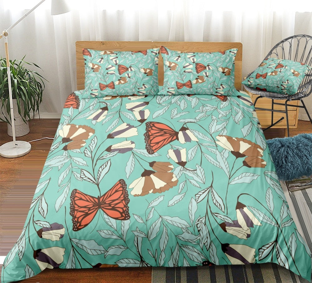 Floral Butterfly Bedding Set - Beddingify