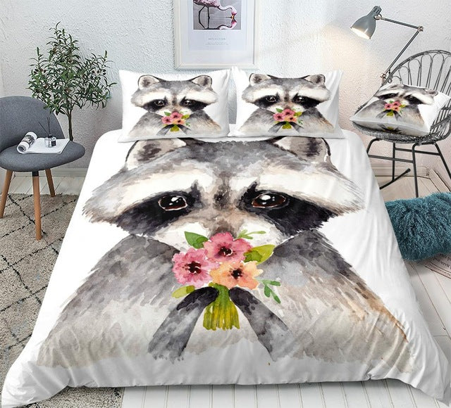 Flower Raccoon Bedding Set - Beddingify