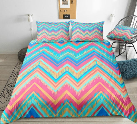 Pastel Ethnic Geometric Bedding Set - Beddingify