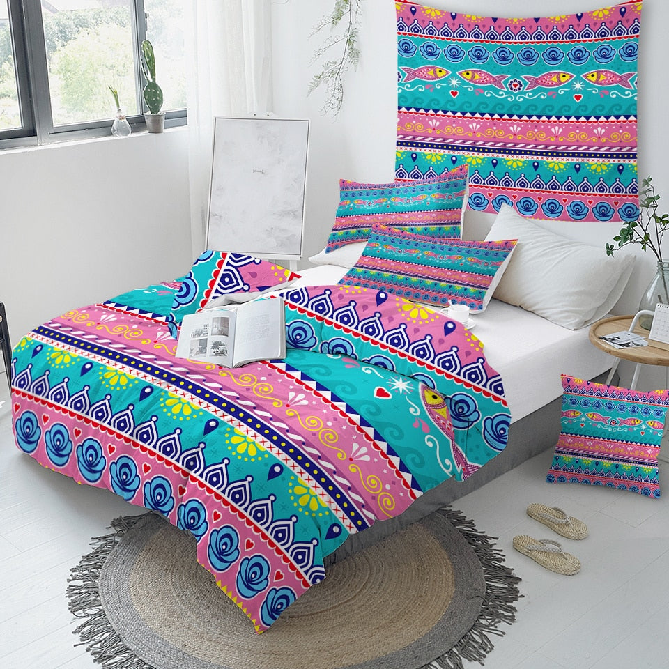 Fish Aztec Bedding Set - Beddingify