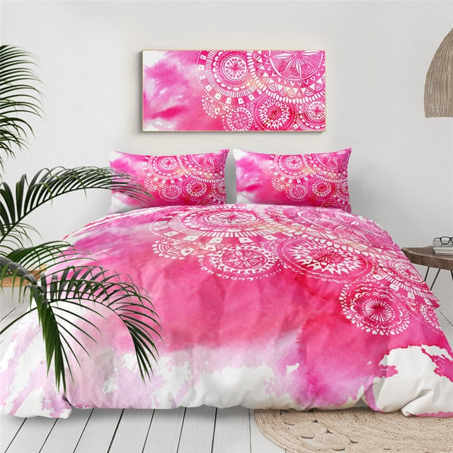 Pink Tie Dye Mandala Indigo Bedding Set - Beddingify