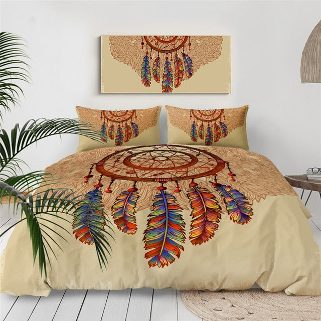 Feathers Gemstones Dreamcatcher Bedding Set - Beddingify