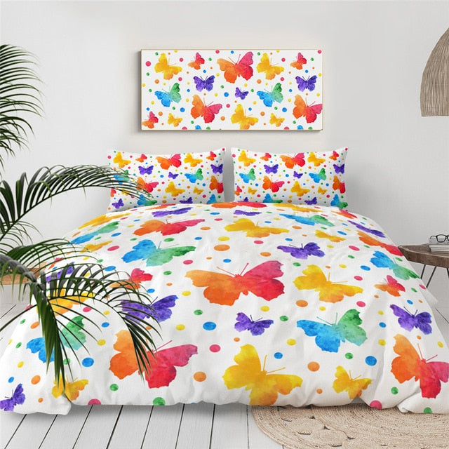Rainbow Butterflies Bedding Set - Beddingify