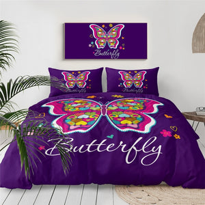 Purple Butterfly Bedding Set - Beddingify