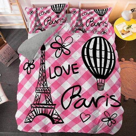Pink Stripe Paris Tower Comforter Set - Beddingify