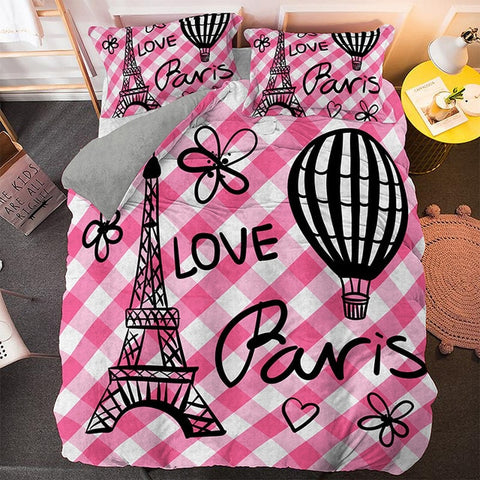 Pink Stripe Paris Tower Bedding Set - Beddingify