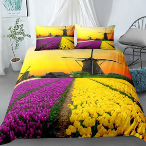 Flowers Farm Landscape Comforter Sets - Beddingify