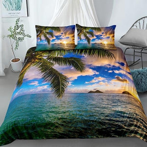 Tropical Coconut Tree Sunset Landscape Comforter Set - Beddingify