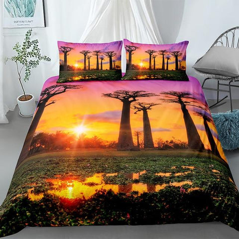 Garden By The Bay Sunset Landscape Comforter Set - Beddingify