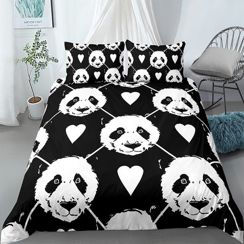 Black Panda Bedding Set - Beddingify