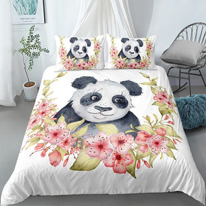 Flowers Girl Panda Bedding Set - Beddingify
