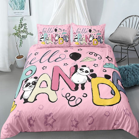 Cartoon Letters Panda Bedding Set - Beddingify