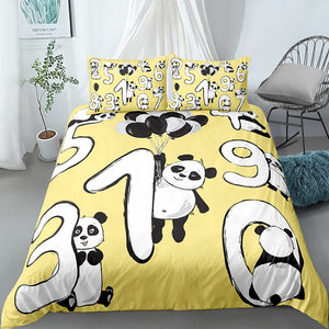 Cartoon Numbers Panda Bedding Set - Beddingify