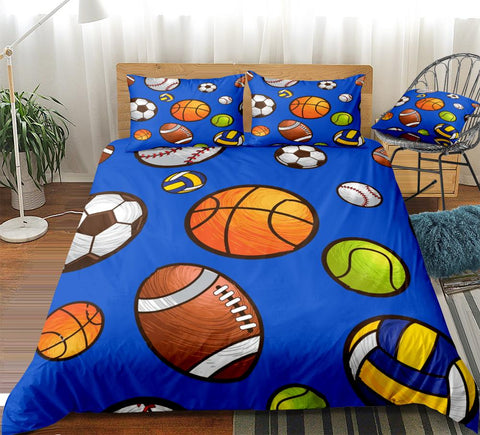 Sport Balls Football Basketball Rugby Bedding Set - Beddingify